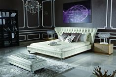 Transitional leather bed mixes traditionalism and modernism in a perfect way to afford any bedroom elegance and comfort.