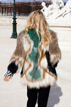Faux fur seventies style coat . Streetstyle