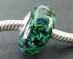 Lampwork Glass Beads, Fits Trollbeads, Biagi, Chamilia, Big Hole Beads, European Charms, Euro Charm Bead, Glass Slider Bead, Lampwork Forest