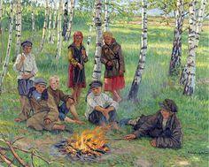 Воскресенье Чтение на Country School - Николай Богданов-Бельский - WikiArt.org