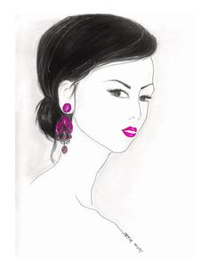 Red Lips Watercolor Fashion Illustration  Black and White by Zoia, $18.00