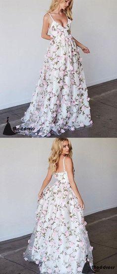 White V-Neck Long Prom Dress 3D Floral Applique A-Line Evening Dresses,HS434  #dresses #promdresses #fashion #shopping #eveningdresses #prom