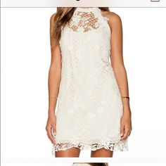 Free People Ivory Snowdrop dress!!!! Size small...will fit 0-4...has slight stretch and is lined! Gorgeous dress but I bought for event and ended up going with long dress! This dress could be dressy or worn with flip flops for really cute look! Adorable perfect dress! Never worn!!!! Free People Dresses