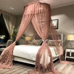 Princess Style Hung Dome Mosquito Net Round Lace Curtain For Home Textile Bed Canopy Crib Polyester - PINkart-USA Pale Mauve / feet) bed Princess Style Hung Dome Mosquito Net Round Lace Curtain - Canopy Bed Curtains, Home Curtains, Bed Canopy Diy, Canopy Over Bed, Bed Canopies, Canopy Bedroom, Bed Canopy With Lights, Bed Lights, Round Beds