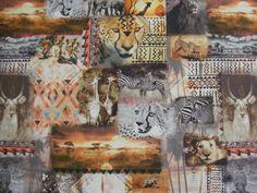 Kinderstoffen digitaal panter leeuw olifant nummer 5. | Stoffenhuis Anja, Goedkope Stoffen Online