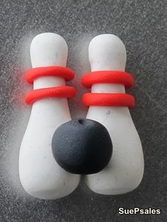 Retro Ten Pin Bowling Pins and Ball Polymer Clay by SuePsales, $5.00
