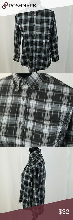 """Brandy Melville women one size plaid button down Brandy Melville women one size plaid button down long sleeve shirt flannel.  Under arm to under arm: 21"""" Back up down: 30"""" Brandy Melville Tops Button Down Shirts"""