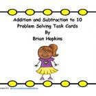 Check out these Common Core Task Cards for Addition and Subtraction to 10.  They are various word problems.  A couple use 3 numbers.  There are 32 ..$.
