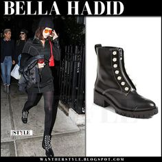 Bella Hadid in black pearl embellished ankle boots and orange sunglasses
