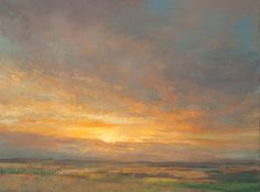Contemporary Scottish landscape artist Ken Busche - View of a Sunset - Oil painting on Canvas