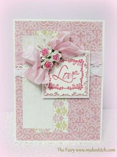 Beautiful Love Card...love the soft colors & roses with ribbon.