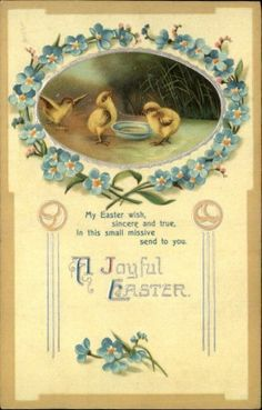 Clapsaddle Easter Chicks Blue Flowers Embossed Greeting c1910 Postcard