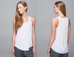 Go Om Tank, $48 (MD $34), size 8.  Loose and super comfy.  Some reviews say TTS, others say size down.  I wasn't able to try on the 6 to compare, but I'd be worried sizing down would pull the pleat on the back.・designed for: yoga, to-and-from ・fabric(s): Burnout ・fit: slim ・shelf bra: no ・support: none ・coverage: medium ・length: hip.  color:  ghost weave burnout white/mini ghost weave burnout white