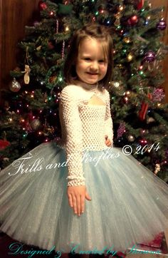 Blue and White Flower Girl Tutu Dress with Long Sleeves and Sparkle Skirt/ Blue & White Elsa Dress, Weddings 1t, 2t,3t,4t.5t,6,8,10