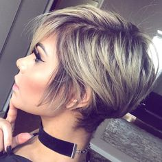 Long Blonde Pixie With Black Roots