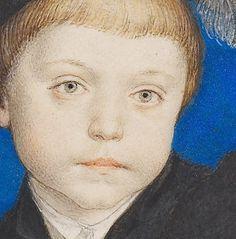 """Particolari di opere: Henry Brandon II° duca di Suffolk. Hans Holbein il Giovane, acquerello su pergamena per carta da gioco del 1535. Collezione Reale, Castello di Windsor. C'è scritto in latino """"etatis sue 5-6"""", incredibile che cosa dovessero dipingere per i loro committenti anche i grandi come Holbein: si dovette assoggettare a dipingere carte da gioco, naturalmente con splendidi ritratti in miniatura."""