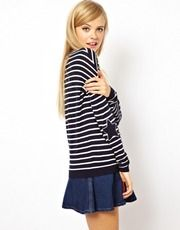 ASOS Stripe Jumper With Star Elbow Patch