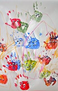 Hand print monsters - perfect for toddlers! I'm envisioning a collaborative project with my 2 and 4 year old. If they draw the eyes/faces instead I could frame it!