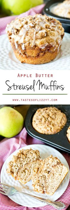 Big, Bakery style Apple Butter Streusel Muffins have a layer of apple butter and crumb streusel, with an apple cider glaze on top. Breakfast Bake, Sweet Breakfast, Breakfast Recipes, Cupcakes, Cupcake Cakes, Apple Recipes, Baking Recipes, Baking Ideas, Bread Recipes