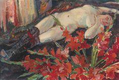 Jan Sluijters (Dutch, 1881-1957), Liggend naakt met zwarte kousen [Lying nude with black stockings]. Oil on canvas, 58.5 x 86 cm.