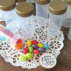 20 Plastic Pill 1 oz Bottles GOLD Caps RX Spice Herbs Party K3314 Meds DecoJars #Decojars