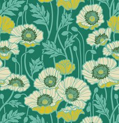 Joel Dewberry  - NOTTING HILL for Free Spirit Fabric - Pristine Poppy in Teal PWJD058 - 1 yard