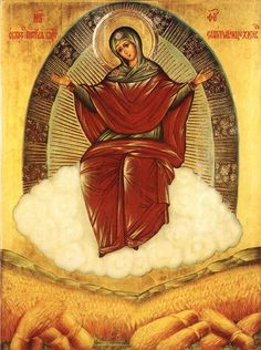 """An icon of the Theotokos, """"She who ripens the grain"""", commissioned bySaint Ambrose of Optina in 1890."""