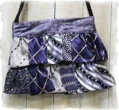 Purse, Necktie vintage Dark blue ruffle purses, OOAK, boho, cute, handbag, Handmade | P4