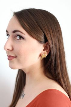 Make These Glittery Gold Thunderbolt Earrings - A BEAUTIFUL MESS | For Teens - would need access to an oven. I betcha a toaster oven would work just fine.