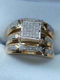 10K Yellow Gold Finish 1.50 CT Diamond Trio Set Diamond Wedding Engagement Ring #br925silverczjewelry #WeddingEngagementAnniversaryBirthdayGift