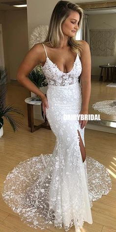 Sexy Mermaid Wedding Dresses,Lace Fitted Wedding Dress with Slit Wedding Dress, How To Dress For A Wedding, Sheath Wedding Gown, Backless Wedding, Princess Wedding Dresses, Bridal Dresses, Wedding Gowns, Lace Dress, Lace Wedding