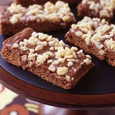 These cake-like brownies are topped with rice cereal for low-calorie crunch. Turn it up a notch with candy toppings or chopped nuts instead. 7 SmartPoints #recipe #WWLoves