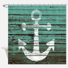 Turquoise Nautical Boards Shower Curtain for