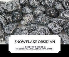 """Snowflake Obsidian is calming and soothing. It teaches you to value mistakes as well as successes. A stone of purity, Snowflake Obsidian provides balance for body, mind and spirit. It helps you recognise and release """"wrong thinking"""" and stressful mental patterns. Promotes dispassion and inner centring. Snowflake Obsidi Healing Stones, Crystal Healing, Snowflake Obsidian, Calming, Mistakes, Snowflakes, Spirit, Patterns, Crystals"""