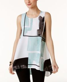 Alfani Printed High-Low Top, Only at Macy's - Blue 12