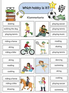 Hobbies For Software Developers English Worksheets For Kids, English Lessons For Kids, Kids English, English Activities, Reading Activities, English Words, English Grammar, Learn English Speaking, Teaching English