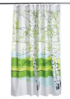 The Kaiku pattern from Marimekko is a fresh-colored shower curtain that can give your bathroom a new happy look!