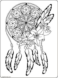 Dream Catcher Adult coloring page by triginkart on Etsy Dream Catcher Mandala, Colouring, Coloring Books, Mandala Coloring Pages, Digital Stamps, Creative, Image, Templates, Blog