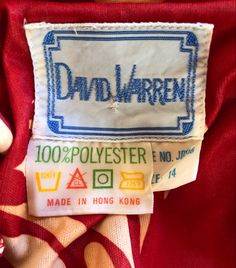 David Warren vintage fashion label Australian Fashion, Vintage Labels, Fashion Labels, Burlap, Vintage Fashion, Reusable Tote Bags, David, How To Make, Vintage Tags