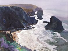 Bob Rudd - Spring Surf (Framed) - Limited Edition Artworks at Kings Interiors Nottingham Watercolor Landscape, Landscape Art, Landscape Paintings, Watercolor Art, Fantasy Paintings, Seascape Paintings, Great Works Of Art, Rocky Shore, Galleries In London