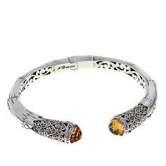 Bali Designs by Robert Manse 3.40ctw Citrine Sterling Silver Bamboo-Design Hinged Cuff Bracelet with 18K Accents