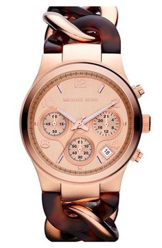 This eye-catching timepiece from Micheal Kors is defined by a gorgeous twisty bracelet. This unique timepiece is finished with a matching rose goldtone dial and convenient calendar date. Case: Stainle