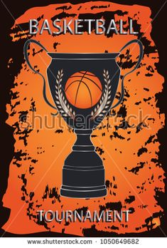 Basketball Championship - ball on the Prize Cup - a bright orange grunge element on a black background - art vector. Sports Poster
