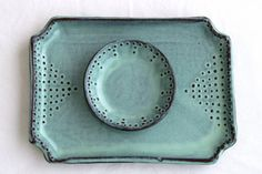 Rectangular Tray with Dot Design  Rustic Aqua by BackBayPottery, $52.00