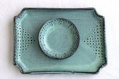 Rectangular Tray with Dot Design  Rustic Aqua by BackBayPottery, $52.00