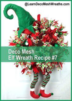 Video Make a Deco Mesh Elf Wreath with my ebook LearnDecoMeshWreaths.com DIY Wreath, Holiday Wreath, #decomesh #howto #elf