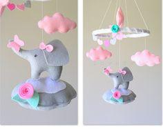 Baby mobile - elephant mobile - baby mobile elephant - pink and gray mobile - pink and gray nursery