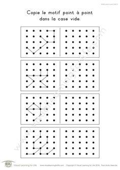 Dans les fiches de travail « Motifs point à point (5x5) » l'élève doit copier le design point-à-point dans la case vide.