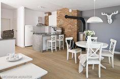Cegła w kuchni. 10 pomysłów na wykończenie ściany w kuchni [ZDJĘCIA] Industrial Style, Sweet Home, Dining Room, Loft, Kitchen, Inspiration, Furniture, Home Decor, Google