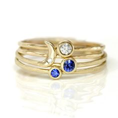 Scarlett Jewelry - Handmade Designer Jewels: Crescent Moon, Sapphire, and Diamond Stacking Ring Set of Four, Rings Jewelry Box, Jewelry Rings, Jewelry Accessories, Jewelry Design, Jewlery, 14k Gold Ring, Gold Rings, Diamond Stacking Rings, Blue Sapphire